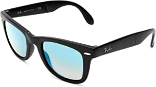 RAY-BAN RB4105 Wayfarer Folding Sunglasses, Matte Black/Blue Gradient Flash, 50 mm