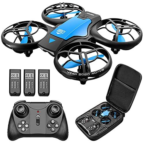 4DRC V8 Mini Drohne für Kinder,RC Quadrocopter Fernbedienung und Handsteuerung,Nano Drone mit 3 Batterien Lange Flugzeit,Höhenhaltung,Start/Landung mit einem Knopf, Stunt Flug für Anfänger