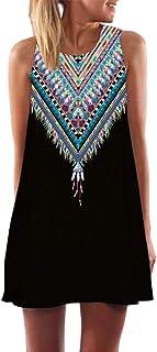 فستان صيفي للنساء بطباعة زهور، فستان شيفون كاجوال دون اكمام بتصميم بوهو قصير برقبة مستديرة للشاطئ
