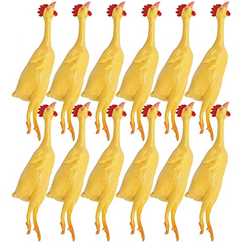 Kicko Mini Rubber Stretch Chickens - 12 Pack - 8 Inch - for Kids, Party Favors, Stocking Stuffers, Classroom Prizes, Decorations, Birthday Supplies, Holidays, Pinata Fillers, and Rewards