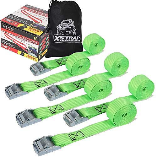 Xstrap Stabile Spanngurte, 2,3 m x 2,5 cm, mit gepolsterter Schnalle, strapazierfähige Zurrgurte für Motorräder, Rasenausrüstung, Umzugsgeräte grün