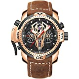 Reef Tiger Mens Sport Mechanical Watches with Steel Black Dial Automatic Watch Calfskin Leather Strap RGA3591 (RGA3591-PBGC)