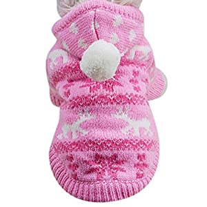 Dog Sweater,Chihuahua Clothes Knit for Girl Pink Hoodie Pom Pom Heart Winter Outfit