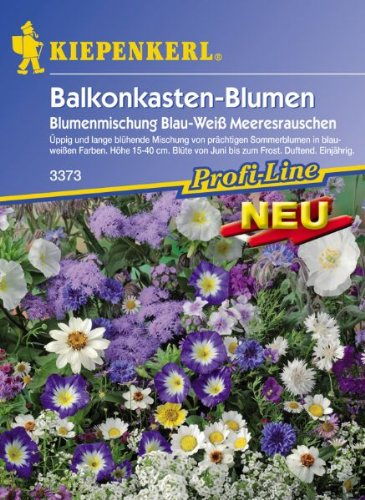 Blumenmischung Balkonkastenblumen Meeresrauschen Blau+Weiss