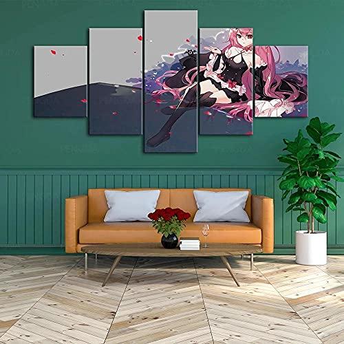 SDGSDG Lienzo Impresiones en HD decoración del hogar/Chica con Cabello Largo Rosa /5 Piezas Arte Cuadros modulares para Sala de Estar Dormitorio póster artístico