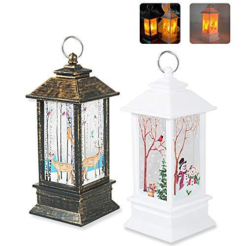 APERIL 2 Lanterne Decorazioni Natalizie LED Vintage, Decorazioni Natalizie, Candele Luci di Natale, Pupazzo di Neve Renna Decorative Lampada di Natale per Finestre Tavoli Decorazione