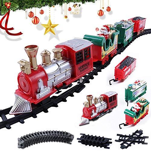 Tren Arbol Navidad Electrico, Circuito de Tren de Juguete, Raíles de Tren con luz y Sonido para Niños Incluye 3...