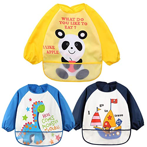 Malschürze Kinder 1-7 Jahre,Zuzer 3PCS Wasserdichte Bastelschürze Langarm Tasche Kittel Süßes Muster Lätzchen