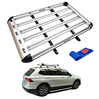 """TUNTROL 64"""" Lightweight Aluminum Roof Rack Cargo Basket Carrier Universal Rooftop for Car Top Luggage Holder SUV Storage with crossbars and Waterproof Tarpaulin,Silver"""