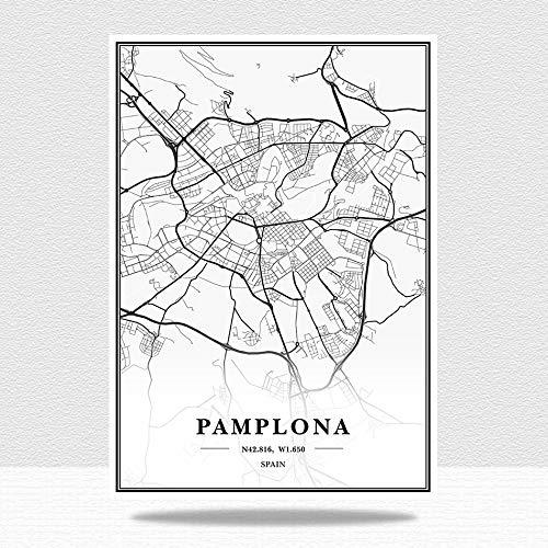 Cuadro sobre Lienzocarteles Y Estampados Estilo De La Pared Imágenes, Pamplona Mapa De La Ciudad Imágenes del Paisaje,para La Sala De Estar Dormitorio Cocina Oficina Moderna Decoración del Hogar,2