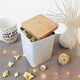 Tarro de almacenaje con tapa en imitación de madera, 1,4 L, 10 x 10 x 16 cm, color blanco