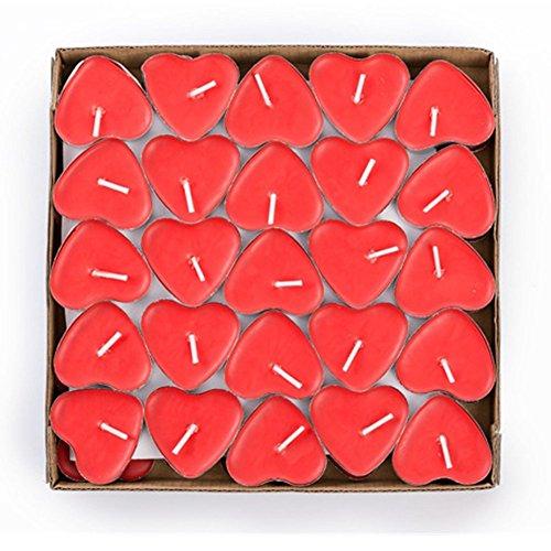 Jzhen 50 Pcs Velas Amor Sin Humo en Forma de Corazón Rojo Romántica para Decoración día de San Valentín, Boda, Navidades, Cumpleaños ect