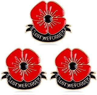 AGR8T 3 broches esmaltados con diseño de amapola roja para no olvidar el día conmemorativo del recuerdo, regalo de joyería...