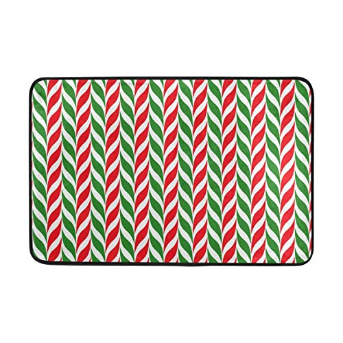 BIRSY Funny Doormat 23.6x15.7 Inch, Red Green Candy Cane Inside Outside Decor Mat For Entrance Living Room Bedroom Office Kitchen Hallway 18x30(IN)
