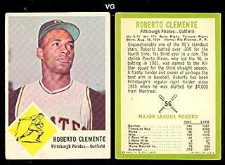 1963 Fleer Regular (Baseball) card#56 Roberto Clemente of the Pittsburgh Pirates Grade Very Good