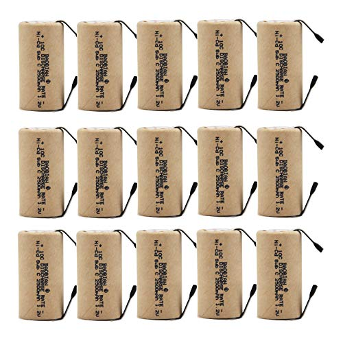 BAOBIAN SC Sub C Power Tools Battery with Tabs Rechargeable 2500mAh 1.2V NiCd (15 Pcs)