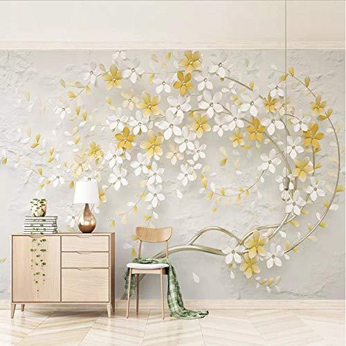 Pbbzl muurschildering, 3D, stereo, modern, kleine bloemen, geel citroen, limonade Murales Foto woonkamer Tv achtergrond, muurkleur decor 350 x 250 cm