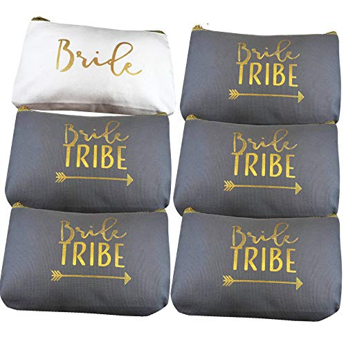 6 Piece Set | Rose Gold Bride Tribe Canvas Cosmetic Makeup Clutch Gifts Bag for Bridesmaid Proposal...
