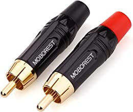 MOBOREST RCA Male Plug Adapter Audio Phono Gold Plated Solder 24K Gold Speaker Plugs RCA Jack Cable Connector Adapter(RCA Male-2pack)