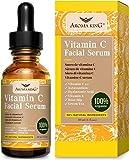 Aroma King Sérum de vitamine C pour le visage avec de l'acide hyaluronique et de la vitamine E, anti-rides anti-âge éclaircir et éclaircir les taches sombres et les cicatrices d'acné, 1 fl oz