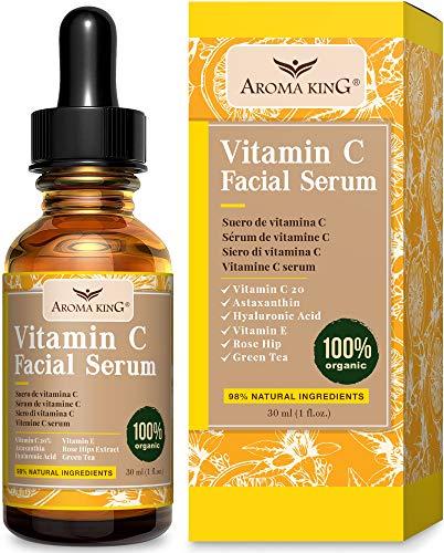 Aroma King Vitamin C Serum for Face with Hyaluronic Acid & Vitamin E, Anti Aging Anti Wrinkle Lighten & Brighten Dark Spots & Acne Scars, Restore & Boost Collagen,1 fl oz (30 ML)