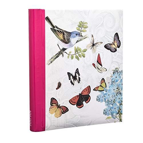 ARPAN - Álbum de Fotos, Auto-Adhesivo, con Anillas en Espiral, con diseño de Mariposas, tamaño Grande, 19 x 27,5 cm, Color Crema, Beige