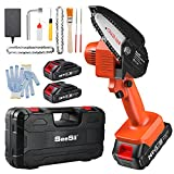 """Mini Chainsaw with 2x 2.0Ah Batteries, Seesii 4"""" Handheld 2.49lbs Portable Cordless Electric Power Chain Saw Upgraded Kits for Tree Branch Wood Cutting(Incl. 2x Battery,2x Chain,2x File,1x Oil Bottle)"""