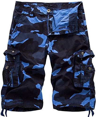 chouyatou Men's Active Normal Waist Loose Multi-Pocket Versatile Twill Cargo Shorts (34, Camo-Blue)