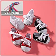 18-Inch Doll Shoes - 3 Pairs Canvas-Doll-Shoes Set for American Girl Dolls, Includes White Canva-Sneakers, Black Canvas Sneakers, Red Canvas Sneakers and 7 Color Laces