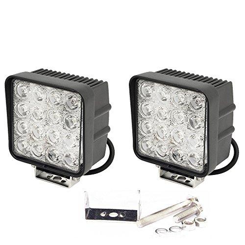 slpro® 2 x LED 48 W Phare de travail Projecteur Spotlight Offroad Projecteur à réflecteur LED 3800Lm Projecteur de travail en aluminium Noir –-Tracteur –-Pelle Jardin Hall d'atelier, etc.
