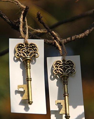 50 Skeleton Key Bottle Opener Wedding Favor with Escort Tags