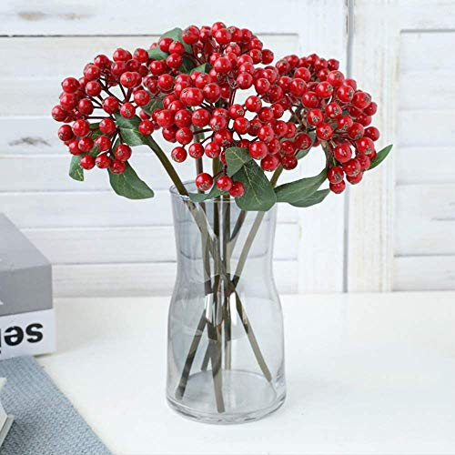 Mossyard 6 Pcs Artificial Red Berries Twig, 11.9 Inches Faux Holly Berry Branches for Home Office Party Hotel Christmas Tree Decoration, DIY Floral Arrangements, Red