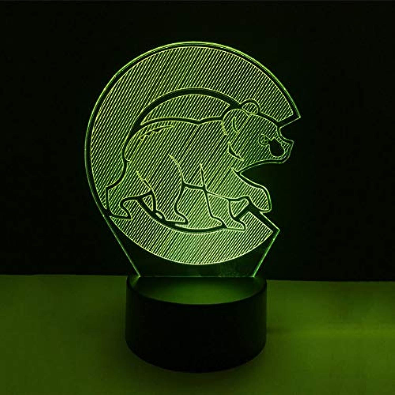 Wuqingren LED Wohnkultur Nachtlicht Schlafzimmer Acryl Baseball Stimmung Schlaf 3D Tier Br Form Beleuchtung Bunte Tischlampe Sport Fans Geschenk,Remote und berühren