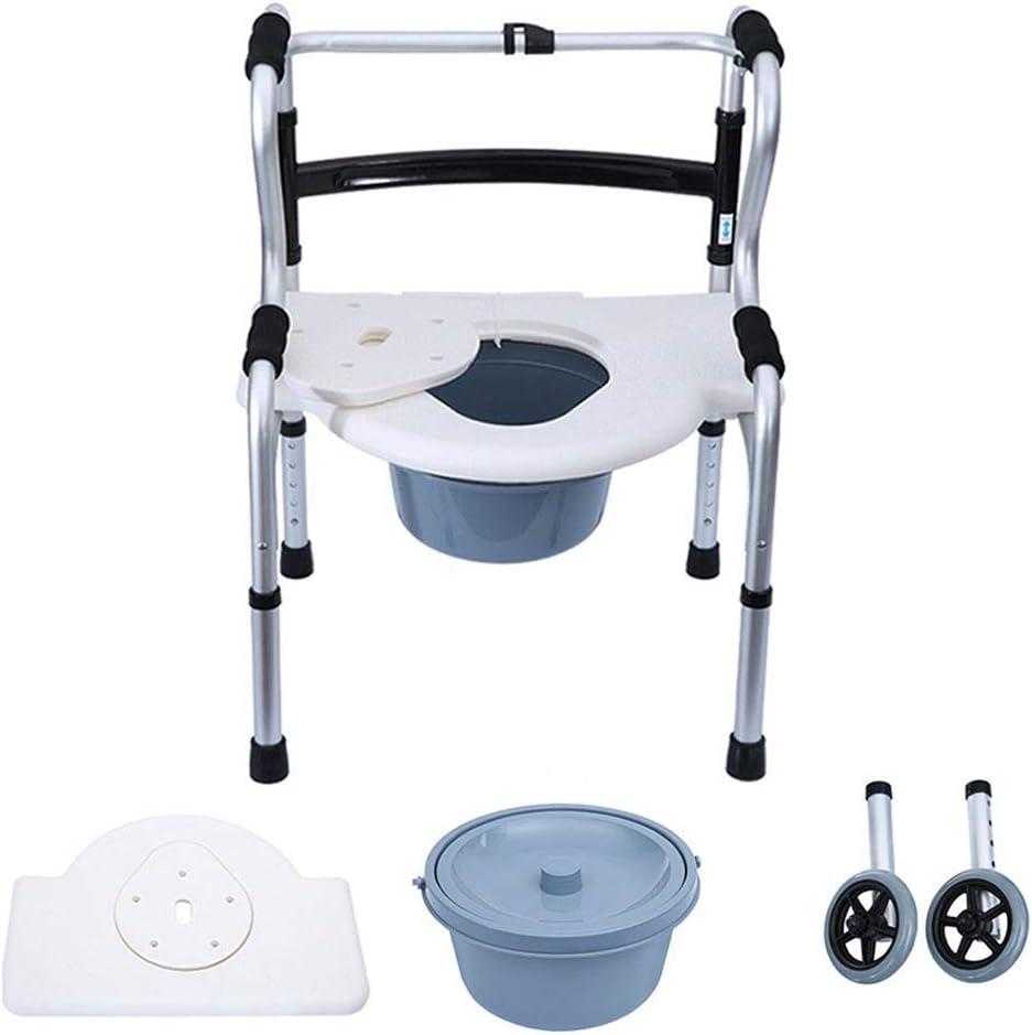 Estructura para Caminar, Silla de Ducha Silla con Inodoro con Ruedas Reposabrazos y Respaldo Ajustable en Altura Personas Mayores con discapacidades Andador Muleta, Ahorro de Espacio
