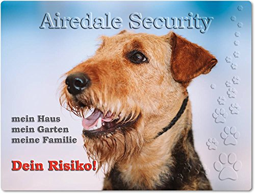 Merchandise for Fans Warnschild - Schild aus Aluminium 15x20cm - Motiv: Airedale Terrier Security (01)