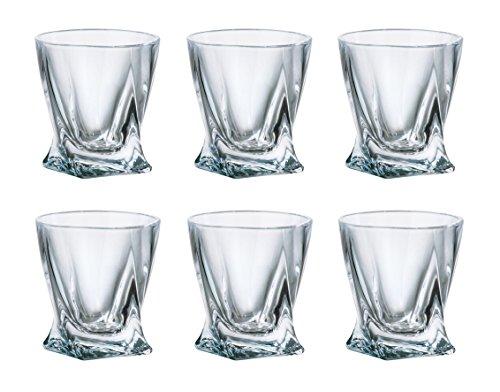 (SET of 6) Crystalex Bohemia Quadro, 2-Ounce Bohemian Crystal Glass Shot Glasses