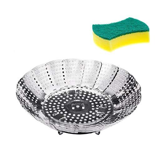 CHINZIO Gemüsedämpfer, Dampfgarer Einsatz mit Reinigungsschwämme, Dünsteinsatz Faltbar, Edelstahl, Spülmaschinengeeignet für Gemüse, Kochtöpfe und verschiedenes Kochen
