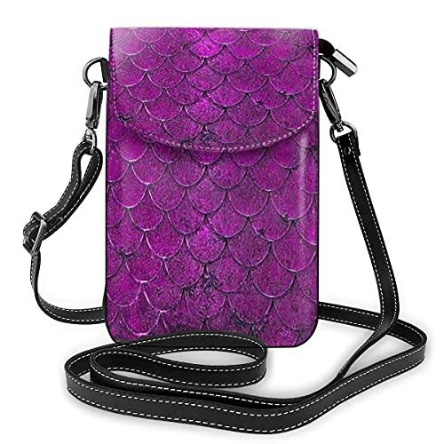 Crossbody Tasche Handy Crossbody Handy Geldbörse Lila Meerjungfrau Waage Frauen PU Leder Mehrfarbige Handtasche mit verstellbarem Riemen Praktisch für den täglichen Gebrauch und Reisen