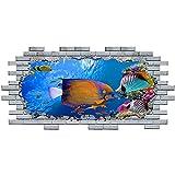 Pegatinas de pared acuario Coral Ocean Fish Sea vinilo calcomanía 3D Art Hole Room decoración del hogar 60x90cm