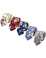 5 Pack Mens Floral Print Ties Slim Skinny Cotton Neck Tie for Groom, Groomsmen Wedding Costume Accessories