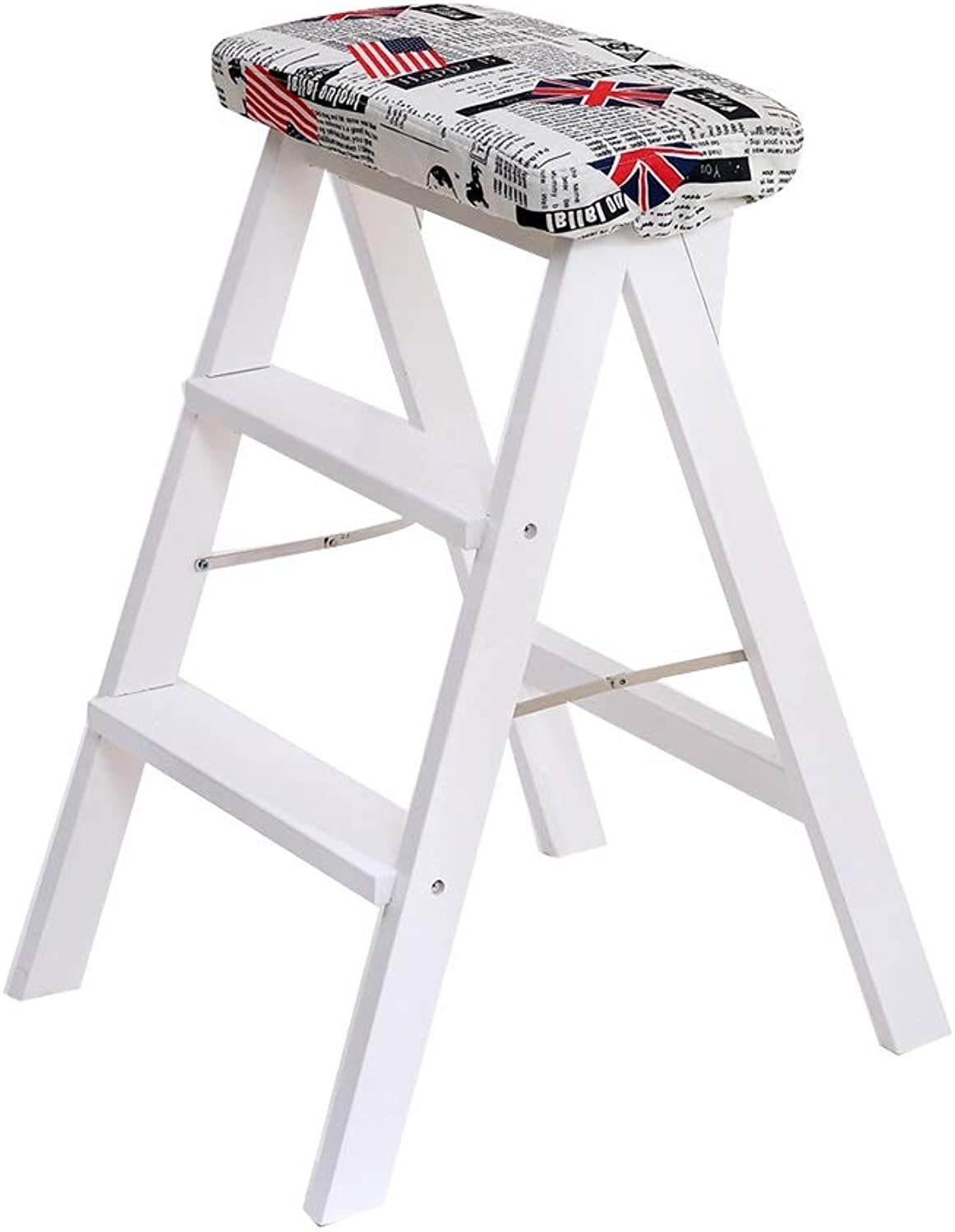 Ladder Folding Ladder, Modern Simplicity Foldable Ladder Stool Dual Purpose Portable Household Solid Wood Kitchen Zuodeng (color   F)