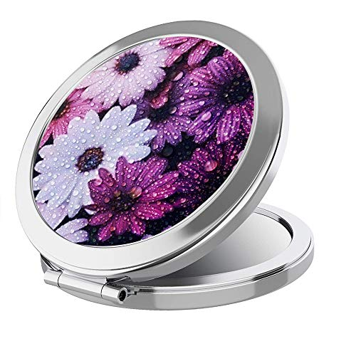 IMLONE Portable Travel Makeup Mirror- Round Sliver 2X Magnification Women Girl Gift Folding Compact Mirror Perfect for Purses/Travel -Flower