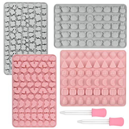 HQdeal Silikon Silikonform Set aus 4 Gummibären Formen und 2 Dropper Pralinenform Silikon Eiswürfelform Klein Schokoladen Silikonformen für Gelee, Schokolade, Jelly, Sirup,Süßigkeiten für Kinder