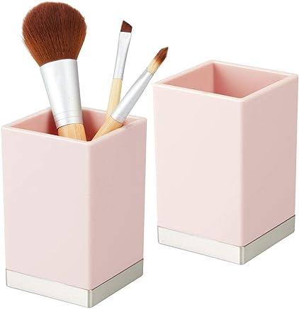 anaan G/éom/étrique Pot brosses /à dents Porte en B/éton salle de bain Porte-Stylo Pot /à crayons Rangement pour Bureau Maison D/ésign Industrialis/ée Lot de 2, coin arrondi, blanc et gris
