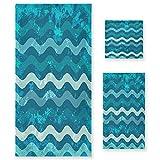 Ondulación Azul del Arte Juego de Toallas para Baño Playa 100% Algodón de Piscina Toalla (1 Toalla de Baño y 1 Toalla de Mano y 1 Paño de Lavado) para Nadar Hotel Niñas Niños Niños