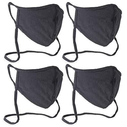 Buttonsmith Black Adult Cotton Adjustable Face Mask with Built-in Lanyard - Pack of 4 - Two Layer Soft T-Shirt Material - Washable - Made in The USA