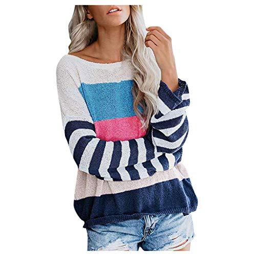 Gebreide trui voor dames met lange mouwen gebreide trui gebreide gebreide trui met strepen kleurblok gebreide trui shirt bovenstukken elegant sweater jumper tops winterpullover