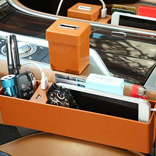 Siège d'auto Multifonctionnel Boîte de Rangement Gap Recharge USB Accessoires universels pour Voiture Universel Orange