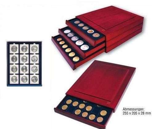 SAFE 6850 echtholz Münzbox Nova Exquisite 12 x 50 mm - mit eckigen Fächern - ideal für Münzrähmchen 50x50 mm und Münzen bis 50 mm