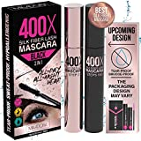 400X Pure Silk Fiber Lash Mascara [Ultra Black, Waterproof], Longer & Thicker Eyelashes, Smudge-Proof, Long Lasting, Instant & Very Easy to Apply, Hypoallergenic, Cruelty & Paraben Free (Mia Adora)